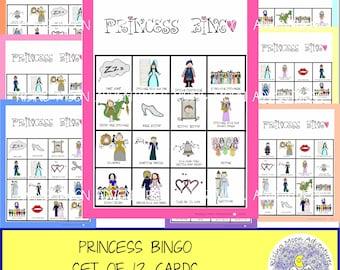 Princess Bingo Game Set of 12