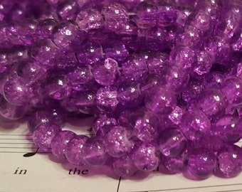 Crackle Glass Beads - 6mm -  65 Beads - Purple Crackle Glass Beads - Purple Crackle  Bead - 6mm Crackle Glass Beads