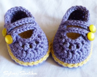 Crochet Baby Booties - newborn girl's purple and yellow mary jane shoes
