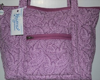 Quilted Fabric Handbag Purse Beautiful Mauve and Pink Paisley Design