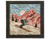 Last Run Downhill Skier Original Paper Collage