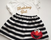 ELMO Birthday girl outfit... Sesame street inspired.. gold polka dots and sparkle gold shirt...girls clothing