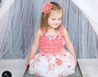 Shabby chic skirt... Girls clothing... Aqua and coral floral print
