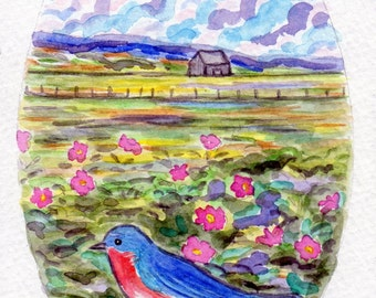ORIGINAL PAINTING, Bluebird and Wild Roses on the Marsh, oval, by DM Laughlin