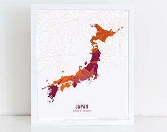 Japan Map Etsy - Japan map 3d