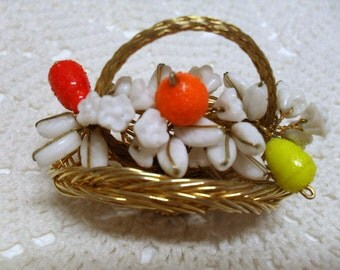 Gold Wire Basket with Milk Glass Flowers & Leaves Colored Glass Fruit Brooch Vintage