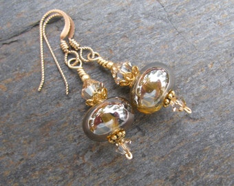 Golden Lampwork Glass, Swarovski Crystal, Gold Filled, Vermeil Earrings