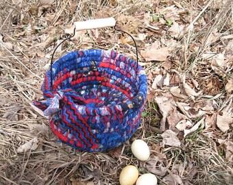 ROCKET  Textile  art BASKET tote  Bucket