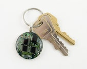 Circuit Board Keychain Green - Geeky Gift for Him - Motherboard Jewelry - Recycled Computer