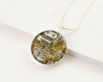 Circuit Board Necklace Dark Yellow - Upcycled Computer Jewelry - Motherboard Necklace - Geeky Gift for Her