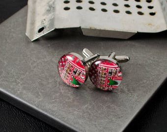 Circuit Board Cuff Links Red, Circuit Board Jewelry, Wearable Technology, Industrial Chic, Geeky Groomsmen Gifts, Techie Gift for Engineer