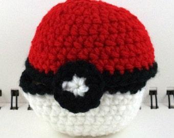 Crocheted Hinged Monster Catching Ball - Red (medium)
