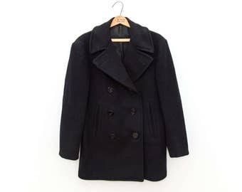Genuine Vintage Wool Navy Pea Coat, Size 36