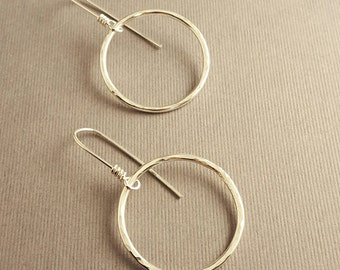 Sterling Silver Shiny Hoop Earrings