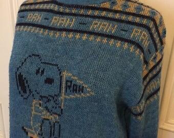 Vintage 1980s snoopy college rah rah sweater
