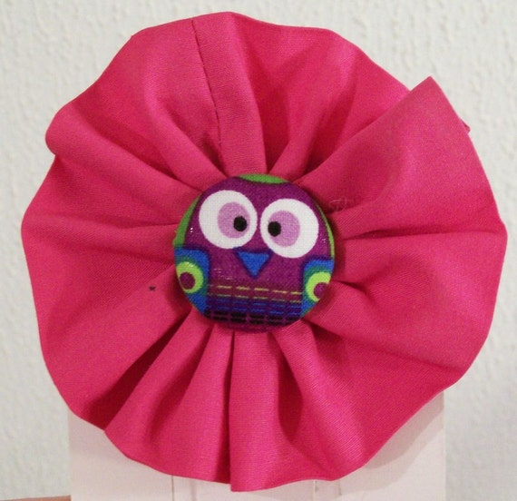 Girls Hot Pink Owl Fabric Hair Bow Girls by ...