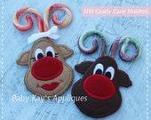 In The Hoop Reindeer Candy Cane Holders Applique Design 4x4