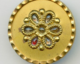 Victorian Metal Glass Button Stick Up Large Antique Metal Colorful 1 1/4 inch size 3217