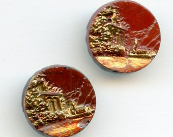 "PAIR (2)Victorian Black Glass Picture Button ""William Tell"" CHOICE Gold Luster and Paint 3/4"" 3273"