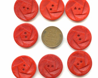 """Matching Set of (8) Vintage Carved Dark RED Casein Buttons Design 7/8"""" NoS New Old Stock 1040s Dress 3791 MORE AVAILABLE"""