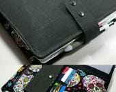 Dark grey and sugar skull fabric 17 pocket   Planner accessory Adjustable Closer Erin Condren Plum paper planner cover