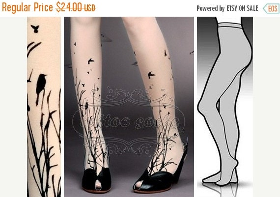 SALE//17%off// l/xl fabulous FOREST SYMPHONY tattoo nylons/ stockings /full length /pantyhose ultra pale tattoosocks tattootights