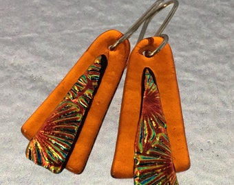 Translucent Orange Dichroic Glass Earrings with Sterling Silver Hooks