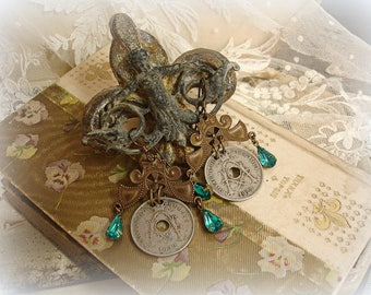 specie one of a kind vintage assemblage earrings coin earrings vintage brass hangers beautiful belgian coins dated 1922 and 1929 blue zircon
