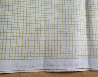 "S M Hexter Screenprint Yardage Vintage Cream Yellow Grey Plaid Cotton Fabric by Philipp Yost for the American Panorama Collection 68"" x 35"""