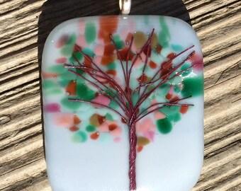 Flowering Tree Fused Glass Pendant