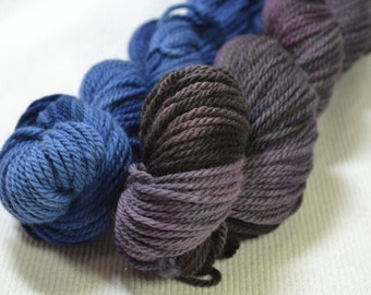 Fun New Combination - two multi color 2 ounce skeins paired together! Purple and Gray and Blue and Lilac! 4 ounces, 250 yards