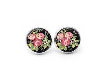 Flower Stud Earrings, Pretty Earrings, Flower Earrings, Tropical Earrings, Post Earrings, Gifts for Her, Pretty Earrings, Dangle Earrings