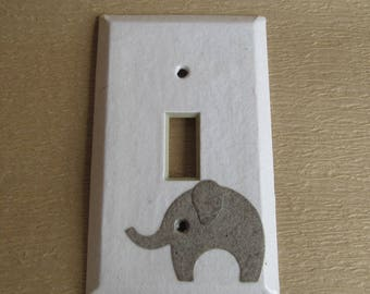 Elephant on White Light switch Plate - single- Recycled Materials