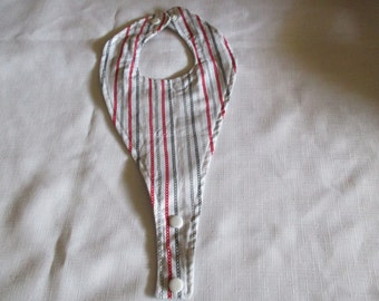 Pacifier bib, striped, red, white, grays, tan, pacifier holder, babies, boy, girl, shower gift, nursery, newborns, boy bib, girls, bib