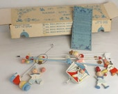 Irmi Musical Circus Mobile, Plays Brahms Lullaby, Vintage 1960's Baby Handpainted Wood Crib Toy In Box, Nursery Room Decor