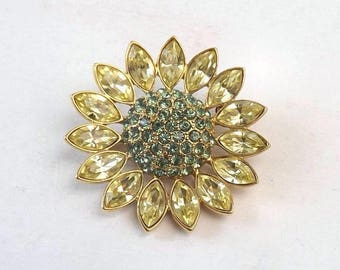 Signed Givenchy Flower Brooch, Vintage 1.75 Inch Goldtone Pin with Aqua & Pale Yellow Rhinestones