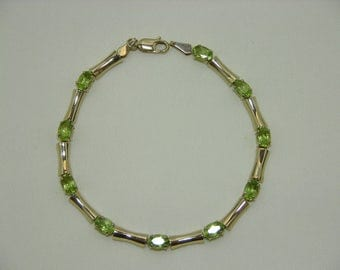 14K Gold Vintage Genuine Peridot Tennis Bracelet MoonMagicTreasures Gemstone Bracelet