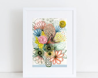 Sketchy Floral A5 Print 15 x 21 cm from my mixed media illustration
