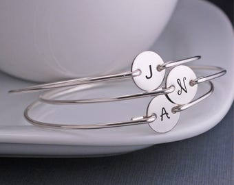 Personalized Bracelets, 3 Initial Bracelets for Bridesmaid Jewelry, Bridesmaid Bracelet Gift, Sterling Silver Bangle Bracelet