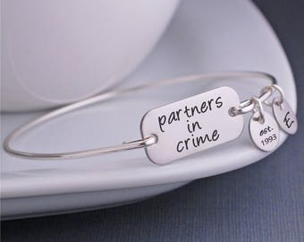 Partners in Crime Bracelet, Best Friend Jewelry, Personalized BFF Jewelry, Friendship bracelet