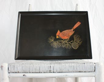 Vintage Mid Century Modern Coroc Monterey Tray Lacquerware Serving Cocktail Decorative Red Cardinal Bird 50s Barware Functional Art