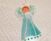 Green Fused Glass Angel, Glass Angel Suncatcher, Religious Angel, Holiday Angel,  Stained Glass Angel Suncatcher, Christmas Angel Ornament