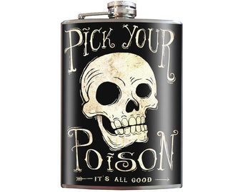 Pick Your Poison Skull Flask -  8oz Stainless Steel Flask - comes in a GIFT BOX -  by Trixie & Milo