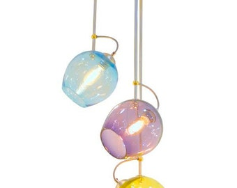 Mod Pod Hanging Cluster Blown Glass Cluster Chandelier in Aqua, Amethyst and Olive