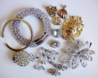 Craft Lot Sale of Various Broekn Vintage Jewelry and Items-Most are Rhinestones