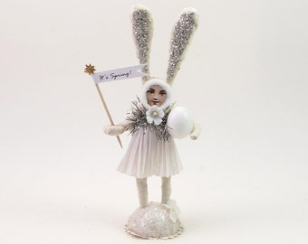 Vintage Inspired Spun Cotton Easter Bunny Rabbit Girl Figure