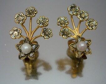 Damascene Flower & Faux Pearl Earrings Vintage
