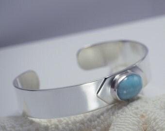 Silver Cuff Bracelet with Larimar Gemstone