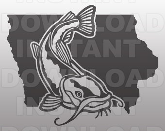 Iowa Catfish SVG File,Fishing SVG,Fisherman SVG -Vector Art for Commercial & Personal Use- svg file for Cricut,Silhouette Cameo,Vinylhtv