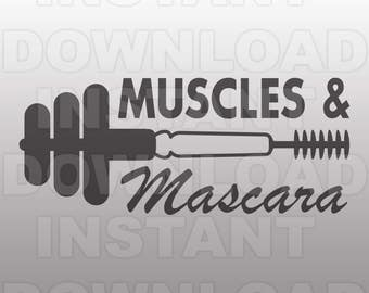 Muscles Mascara SVG File,Workout Tank Top SVG,Runner SVG -Cutting Template- Vector Art Commercial & Personal Use- Cricut,Cameo,Silhouette